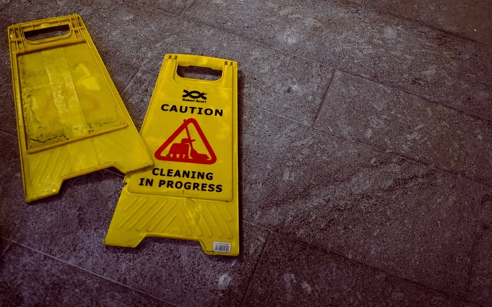 warning for slip and fall